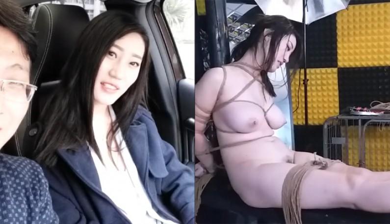 这是来自河北的D奶美女 国模沈迪被淫蕩摄影师SM綑绑口爆
