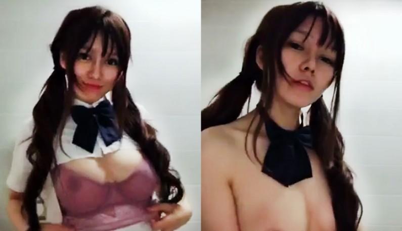 [学生妹系列] 巨乳学生妹 胸口太闷只能剪破透透气