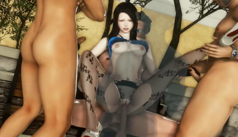 3D丝袜人妻~公园座椅直接4人轮上!!享受平常无法完成的性爱美梦~