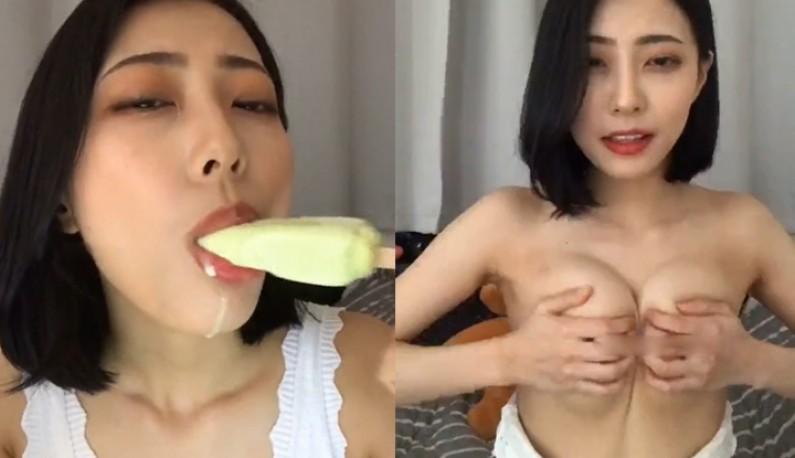 [韩国] 说好不脱~但最后还是脱掉玩奶!!