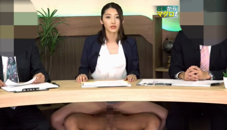 [AI换脸] 日本演艺圈淫梦再现~主持人直接被製作人在节目上硬上了!!