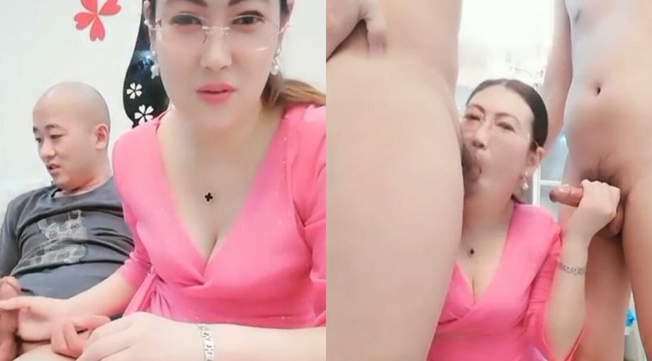北京眼镜御姐范少妇和两个粉丝玩3P乱伦给光头爸爸和帅儿子吃鸡巴内射口爆吞精