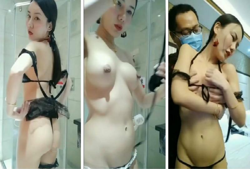 网红豆芽姐演绎模特小丽酒店面试导演被要求洗澡换上性感情趣