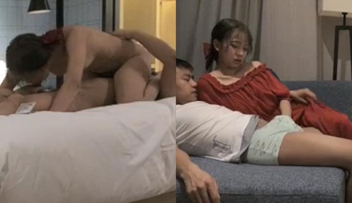 不赶时间的两人慢慢调情在玩到床上~年轻马尾巨乳正妹开始咬咬小哥就爽到受不了了!