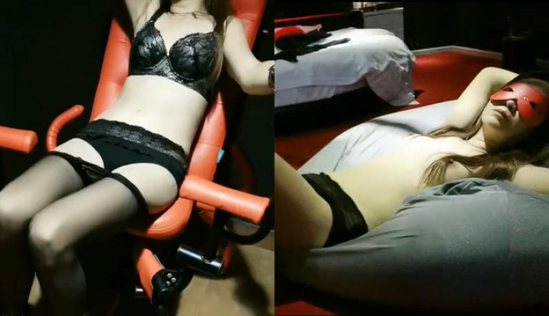 和SM向女同事约到情趣酒店啪啪,还用了八爪椅尝试各种姿势及道具超刺激~