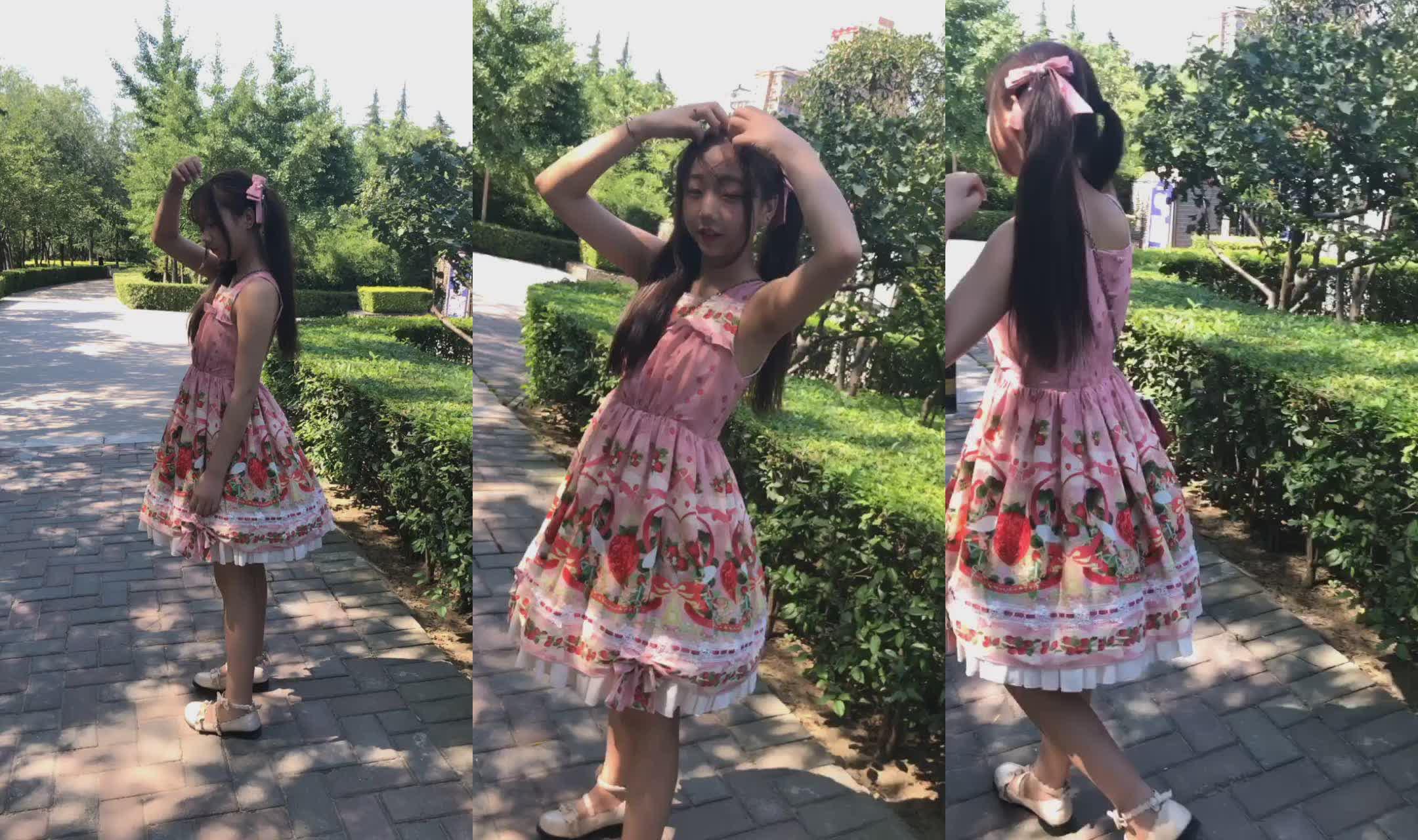可爱学生妹在沣泾大道39℃高温下露脸脱光跳舞