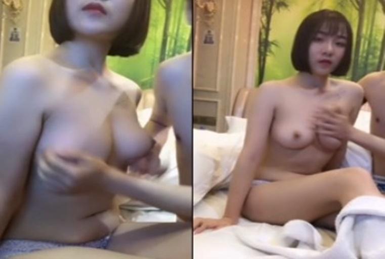 [中文主播外流]皮肤白皙丰满短发美乳少妇双人秀 揉奶子舔BB男的弄半天不够硬只能自己玩