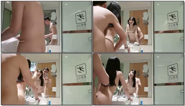 年轻小情侣酒店开房自拍在厕所镜子前后入啪啪对话清晰还会叫