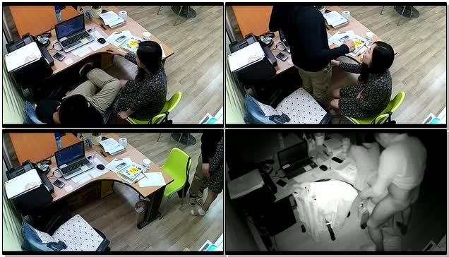公司摄像头破解偸拍下班后经理与碎花连衣裙文员用电脑看黄片一起研究性爱动作在办公桌前打一炮